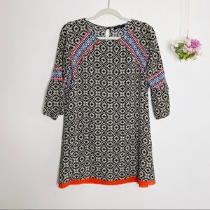 THML Tunic Dress Black White Embroidered Top
